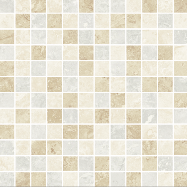 Ivory-Beige-Silver Mixed Semi-Polished 12×12 Mosaic