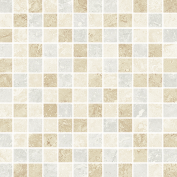 Ivory-Beige-Silver Mixed Semi-Polished Mosaic