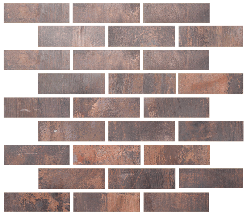 Metallix Miscellaneous Designs – Antique Copper Antique Copper Brickset Mosaic 1×4