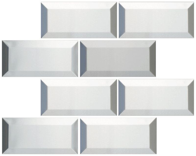 Metallix Miscellaneous Designs – Stainless SteelBrushed Stainless Steel Beveled Edge 3 x 6Brick
