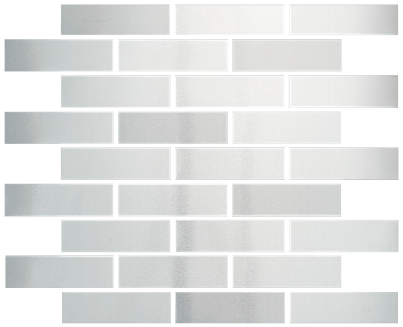 Metallix Miscellaneous Designs – Stainless SteelBrushed Stainless Steel Brickset Mosaic 1 x 4