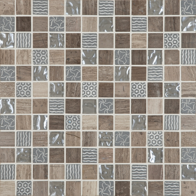 Cordoba Grey Deco Mix 1 x 1 Mosaic 12 x 12 Sheet