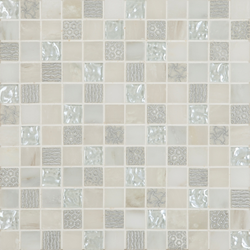 Cordoba White Deco Mix 1 x 1 Mosaic 12 x 12 Sheet