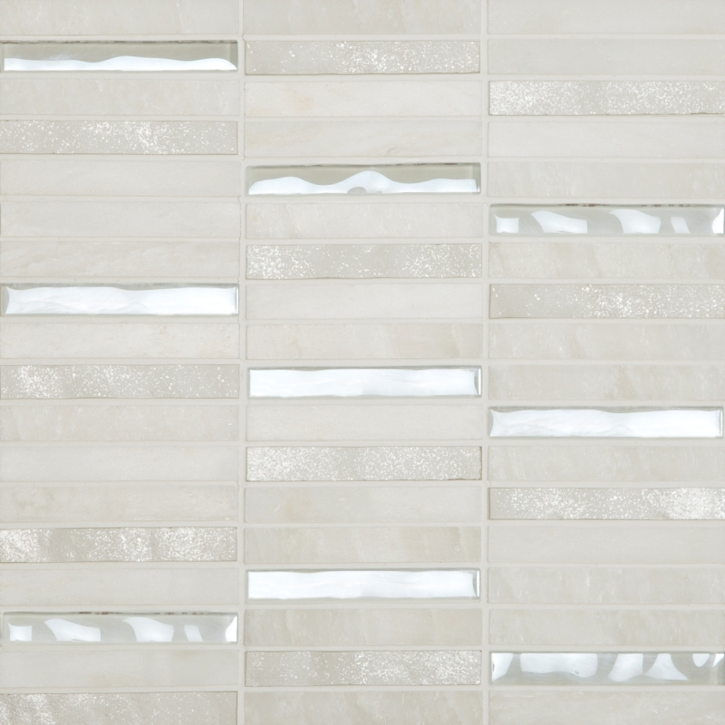 Cordoba White Linear 0.6 x 4 Mosaic 12 x 12 Sheet