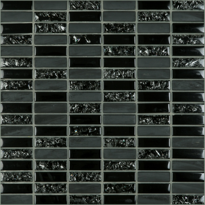 Crackle Black 1.8 x 0.6 Mosaic 12×12 Sheet