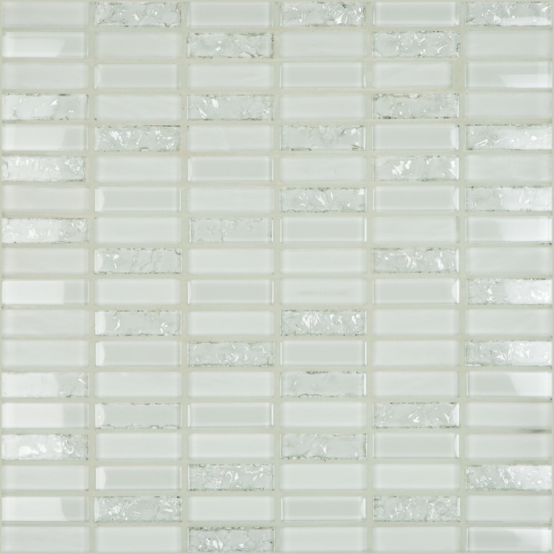 Crackle White 1.8 x 0.6 Mosaic 12×12 Sheet