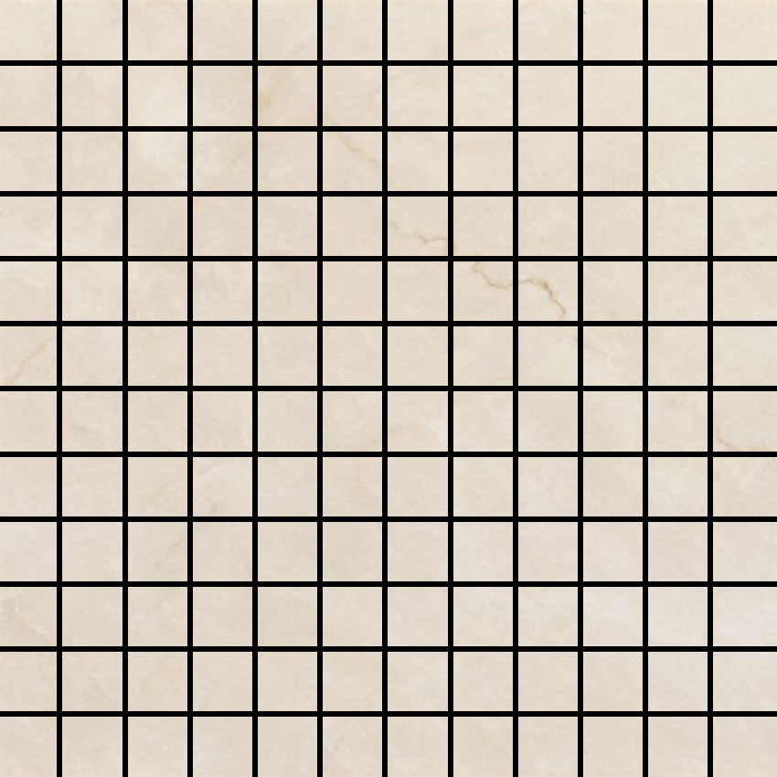 Crystal Cream Glossy 1 X 1 Mosaic 12 X 12 Sheet
