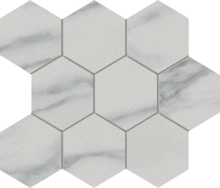 Marmi Statuario Hexagon Mosaic 12 X 12 Sheet