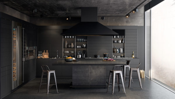 Chrome-features-kitchen-all-black-panelling-concrete-floor